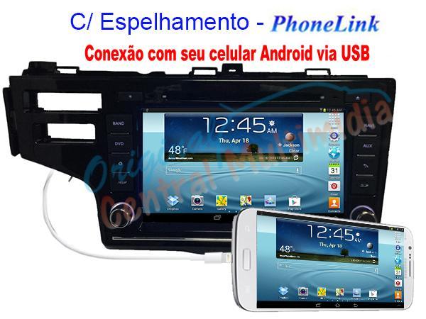 Central Multimidia Honda Fit 2014 2015 2016 - PhoneLink