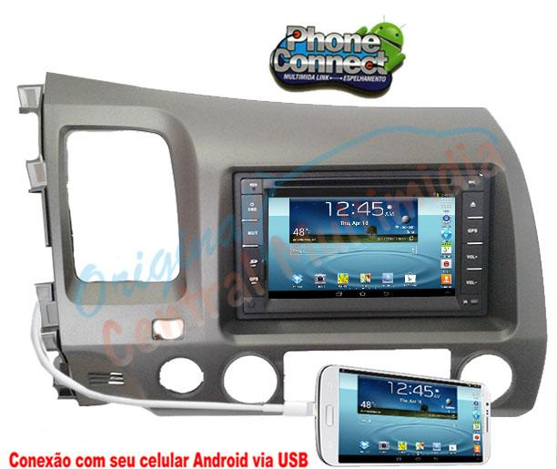 Central Multimidia Honda New Civic 2007 a 2011 (Multimidia + Moldura) Audio System