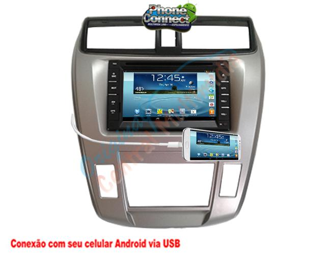 Central Multimídia Honda City Ar Digital 2009 a 2013 (Multimidia + Moldura)