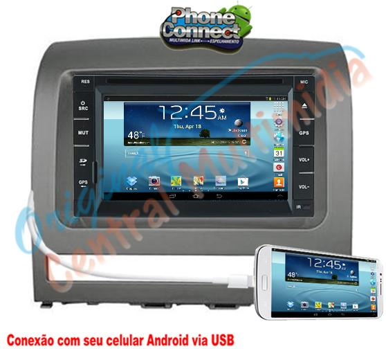 Central Multimidia Fiat Palio Siena Idea 2005 a 2012 (Universal + Moldura Cinza)